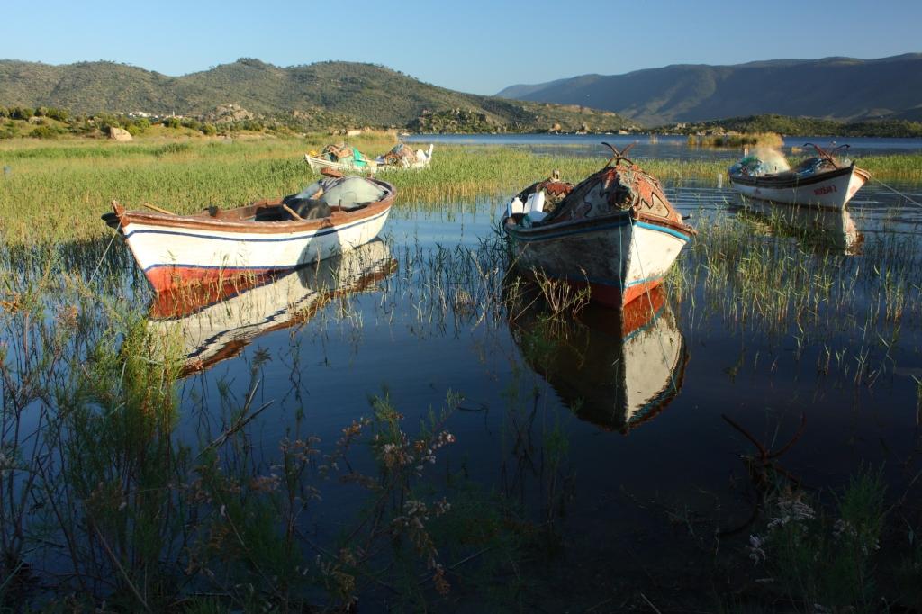 Bafa gölü ve balıkçı sandalları