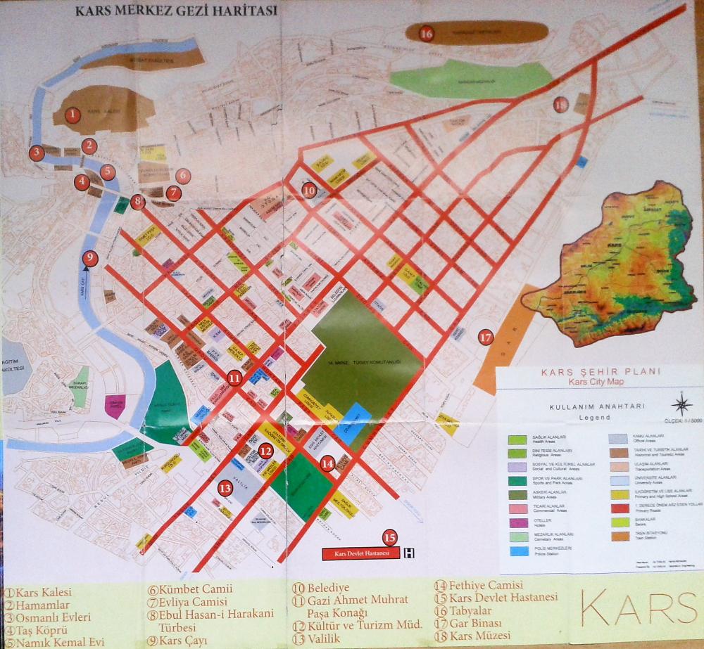 Kars merkez gezi haritası